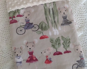 Baby blanket - mice and minky