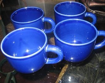 Set of 4 Cobalt Blue Ceramic Coffee/Tea Cups