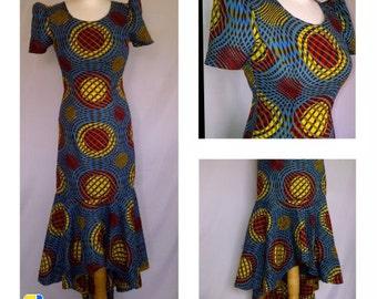 Ankara dress,  High-Low Ankara Print Dress
