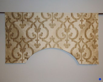 Ivory Golden Brown Faux Silk Traditional Scroll Lattice Custom Valance