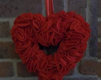 red felt hanging heart