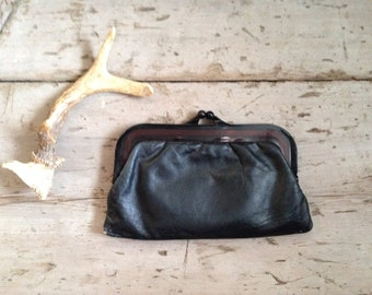 vintage leather clutch / leather clutch with bakelite handle