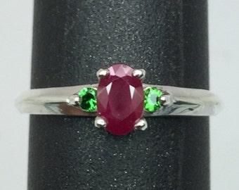 14k Ruby & Tsavorite Ring, Free Sizing.