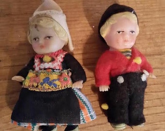 Set of 2 Vintage Rubber Dolls with Clothing