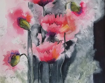 Poppy Watercolor, Loose Poppy Painting,