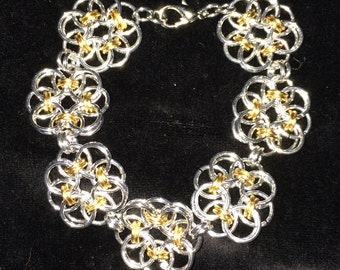 Silver and Gold Aluminum Flower Bracelet. Based on Celtic Weave Chainmaille Design