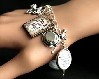 Pride and Prejudice Bracelet.  Pride and Prejudice Charm Bracelet. Jane Austen Bracelet. Silver Bracelet. Handmade Bracelet.