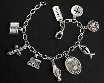First Holy Communion Bracelet. Christian Bracelet. Catholic Charm Bracelet. Christian Jewelry. Religious Bracelet. Handmade Jewelry.