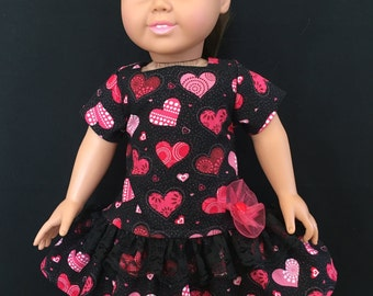 "Valentine Dress for American Girl and similar 18"" dolls"