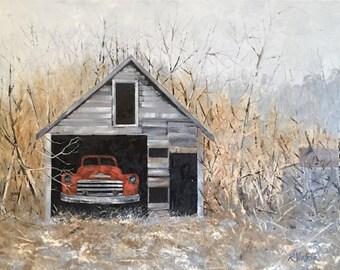 Landscape artwork, old trucks artwork, original oil landscape, farms and barns, impressionistic artwork, Russ Voelker art, old buildings art