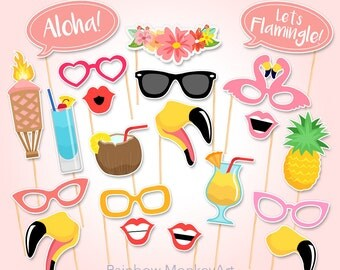Printable Flamingo Party Photo Booth Props - Flamingo Photobooth Props - Flamingo Printable Props - Flamingle Party - Pink Tropical Party