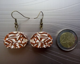 Earrings Brown camouflage effect