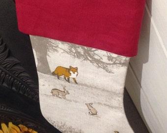 Handmade fabric Christmas stocking, small xmas gift sack, festive decor hanging.