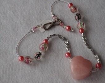 Rose Quartz Heart pendant with Swarovski crystals