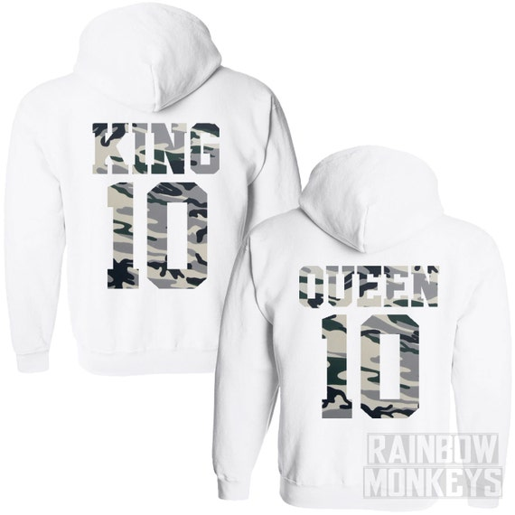 King Queen Camo Hoodies Matching couples Jumpers King by ...