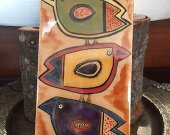 Decorative ceramic tiles// hand painted tile