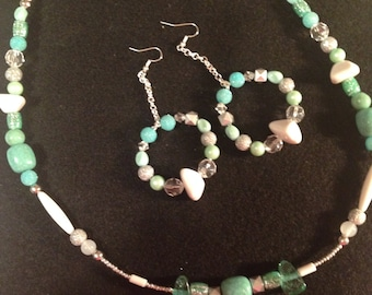 Handcrafted beaded necklace and earring set