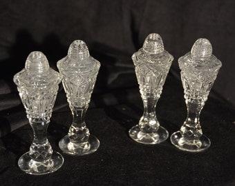 Antique lead crystal salt & pepper shakers (2 sets)