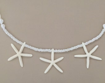 Starfish Garland with White Mongo Shells