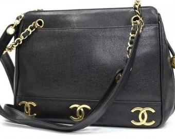 AUTHENTIC CHANEL Caviar Leather CC Mark Chain Shoulder Bag Black (30094-9580-15)