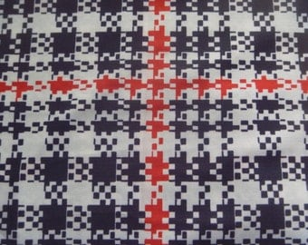 black white and red check polyester, vintage fabric