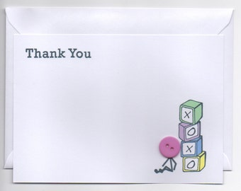 Thank You Baby Button Notecards - Pack of 6
