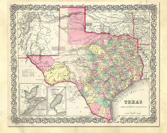 Old Texas Map Etsy - Map of texas usa