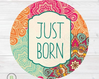 Newborn Monthly Baby Sticker - Just Born - Mandala Design by Baby Lookback
