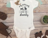 Deer Onesie®, Baby Shower Gift, Baby Boy Clothes, Hunting Baby Clothes, Country Baby Clothes, Cute Onesies, My Parents Love Me Deerly,Rustic