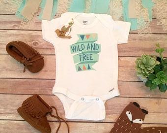 Boho Baby Clothes, Wild and Free Onesie®, Cute Baby Gift. Hippie Baby Romper, Boho Baby Bodysuit,Baby Shower Gift, Baby Boy Gift,Mint Onesie