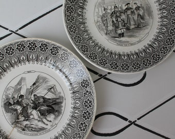 SARREGUEMINES 2 dessert porcelain Theme Costumes talking old plates military Syria China / french ironstone
