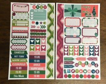Merry and Bright Medium Personal MM Stickers Louis Vuitton Mambi Inkwell Press Filofax Kikki K Happy Life Planner LV holiday Christmas