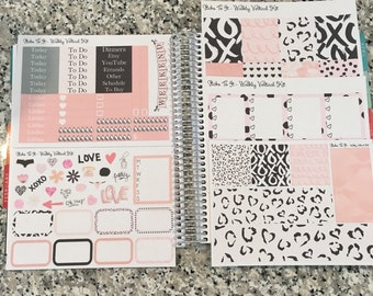 Blush and Black X's O's ECLP Weekly Kit Mambi Happy Planner Stickers Valentine's Check Lists Daily Boxes