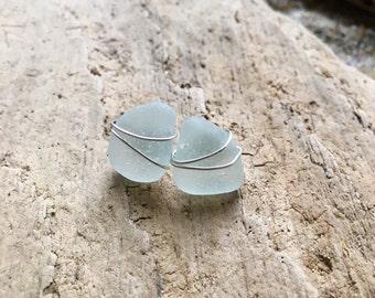 Genuine Aqua Sea Glass Post Earrings