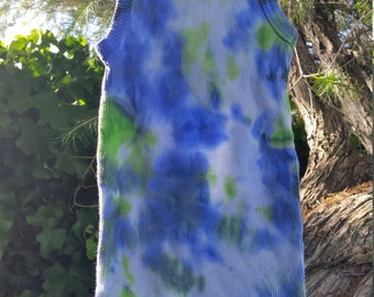 Blue and green tie-dyed baby singlet