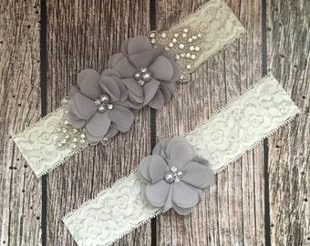 Wedding garter, grey garter, rhinestone garter, ivory garter, garter toss, lace and pearl, wedding garter set, garter set