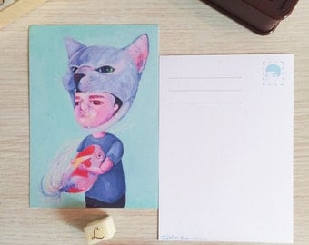 Boy with Cat Hat Holding Goldfish Postcard (A Print of Original Painting)