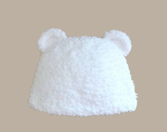Baby hat in white fur with bear ears (0-24 M)
