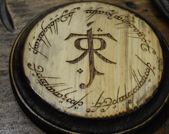Lord of The Rings, Tolkien Symbol Ring Inscription Coaster Set of 4, Handmade Wood Burned Laser Etched, LOTR