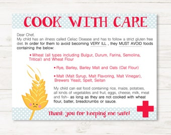 Gluten Free Chef/Restaurant Cards for Child- Medical Alert Dining Card- Printable Food Celiacs Disease
