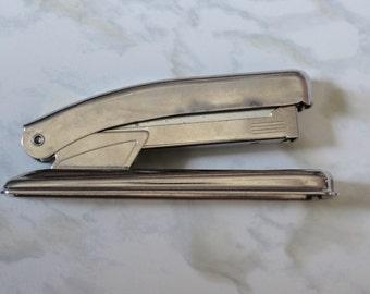Mid-Century mini silver stapler-WORKS