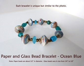 Paper and Glass Bead Bracelet
