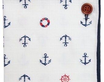 Pocket Square 100% Cotton, White w Blue Trim, Nautical Button Collection