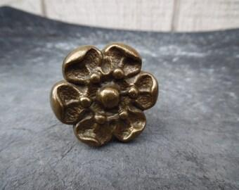 Vintage brass flower pull