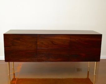 Solid Rosewood Credenza or Dresser with Brass Mid Century Modern Inspired Tapered Legs