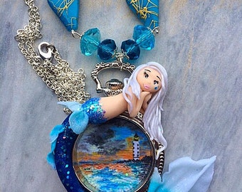 Mermaid necklace and landscape