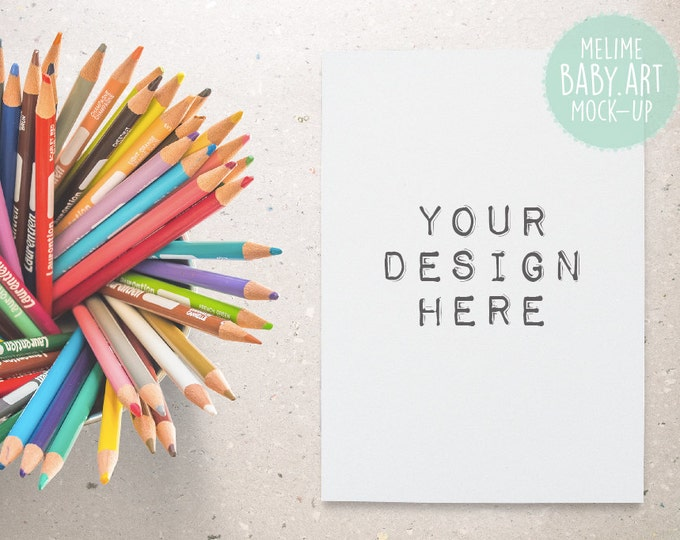 Styled Photography Mock Up, 5x7 Card Mockup, Kids Invitation Mockup, Colorful Pencils Photography (A3.Card)