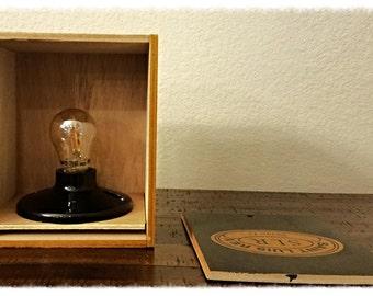 Cigar Box Lamp, nested bulb