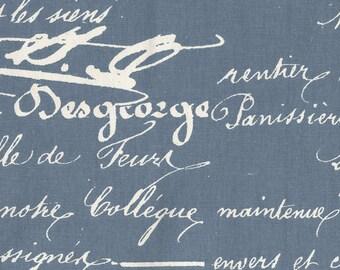 Penmanship Denim Blue French Script Fabric By-the-Yard