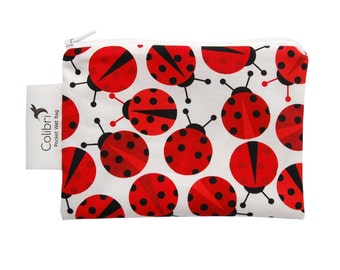 Ready to ship - Pocket Wet Bag with zipper and PUL liner great for menstrual cups or cloth pads - ladybugs